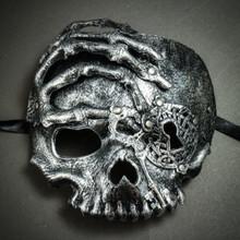 Halloween Skull with Key Venetian Masquerade Half Face Mask - Silver