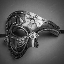 Steampunk Phantom of the Opera Venetian Masquerade Mask - Silver