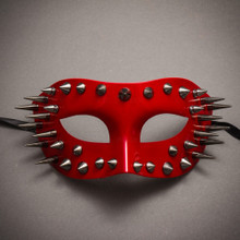 Steampunk Spikes Venetian Masquerade Eye Mask - Glossy Red