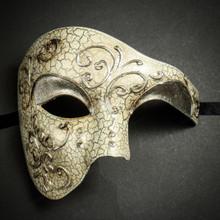 Phantom of the Opera' Venetian Masquerade Mask-Silver Lining