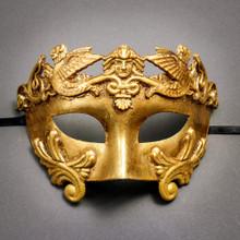 Roman Greek Emperor Warrior Venetian Mask - Metallic Gold