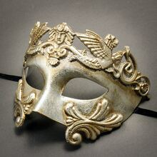 Roman Greek Emperor Warrior Venetian Mask - Metallic Silver