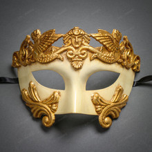 Roman Greek Emperor Warrior Venetian Mask - White Gold