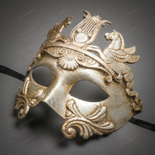 Roman Greek Emperor with Pegasus Horses Venetian Mask - Metallic Silver