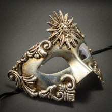 Warrior Roman Greek Sun Venetian Masquerade Mask - Metallic Silver