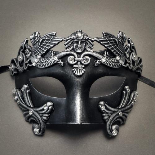 Roman Greek Emperor Masquerade Venetian Mask-Black Silver