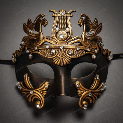 Roman Greek Emperor with Pegasus Horses and Rhinestone Venetian Mask - Black Dark Gold