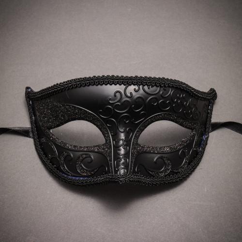 Classic Glitter Venetian Masquerade Mask- Black