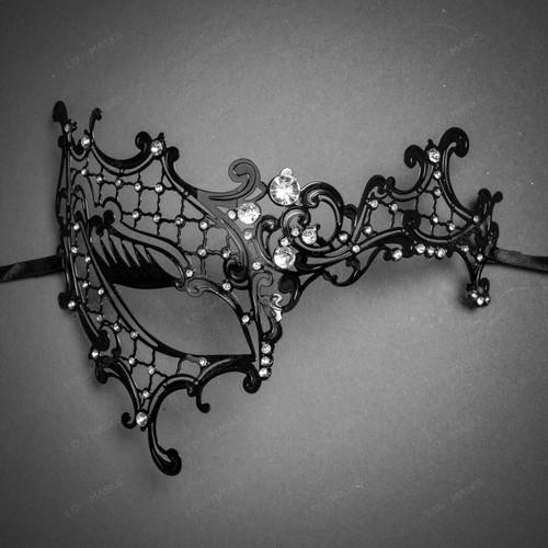 Phantom of Opera Venetian Laser Cut Mask With Rhinestones - Black Silver
