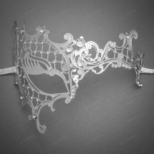 Phantom of Opera Venetian Laser Cut Mask With Rhinestones - Silver