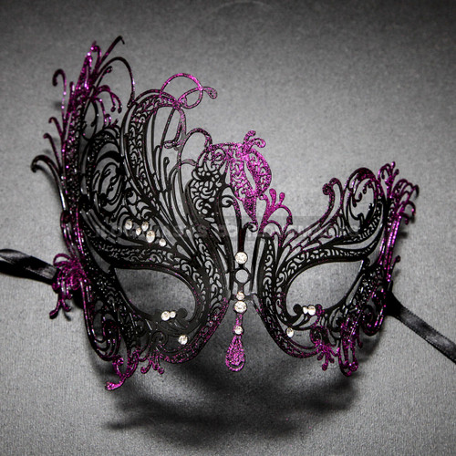Black Purple Venetian Swan Party Masquerade Women Mask with Rhinestones - Front