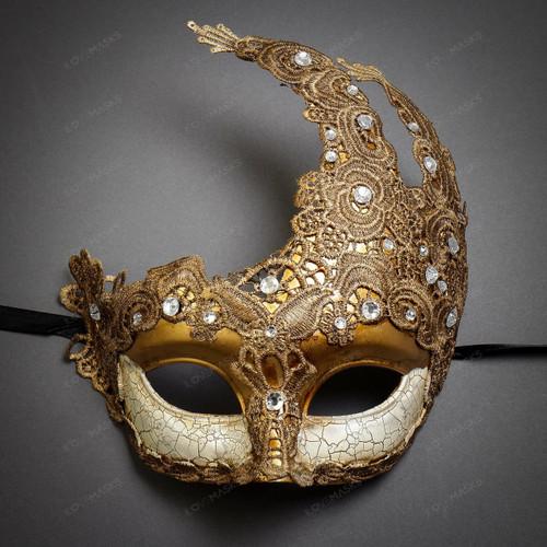 Women Venetian Masquerade Lace Mask - Gold