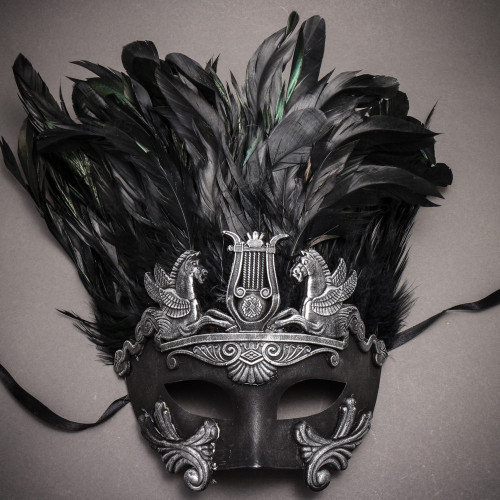 Roman Greek Emperor with Pegasus Horses and Feather Venetian Mask - Black Silver