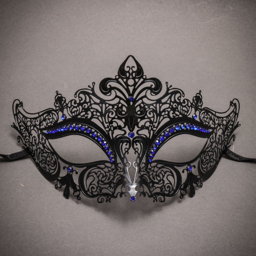 Party Queen Venetian Mask with Sparkling Blue Rhinestone-Black