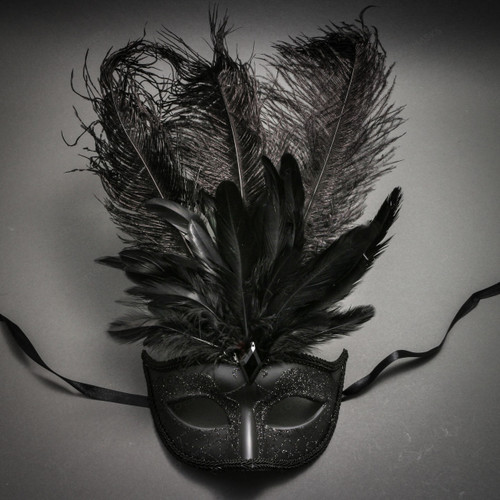 Masquerade Ostrich Tall Feather Venetian Glitter Party Mask-Black - 1