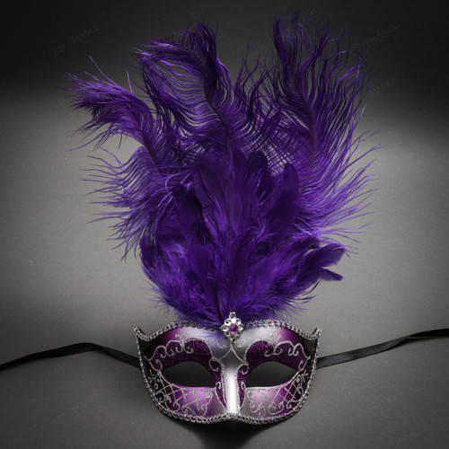 Masquerade Ostrich Tall Feather Venetian Silver Glitter Party Mask-Purpler