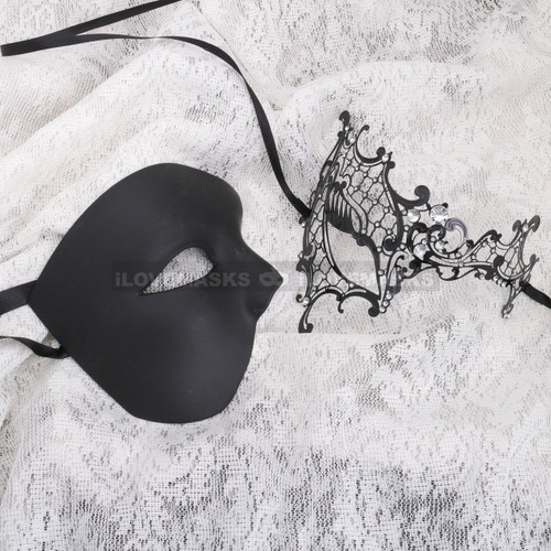Black Half Face Phantom and Black Silver Phantom Mask for Couple