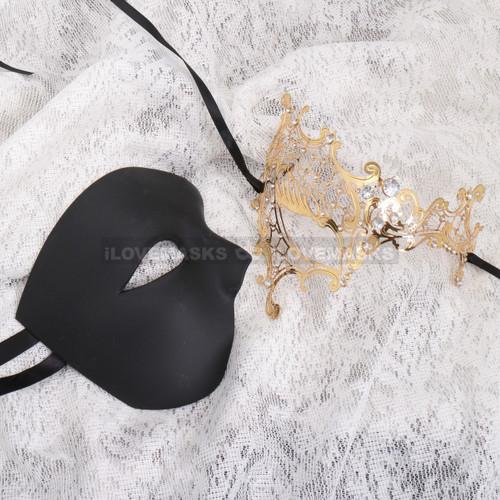 Black Half Face Phantom and Gold Silver Phantom Mask for Couple