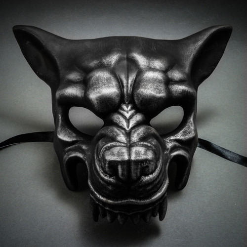 Wolf with Teeth Masquerade Mask - Black Silver