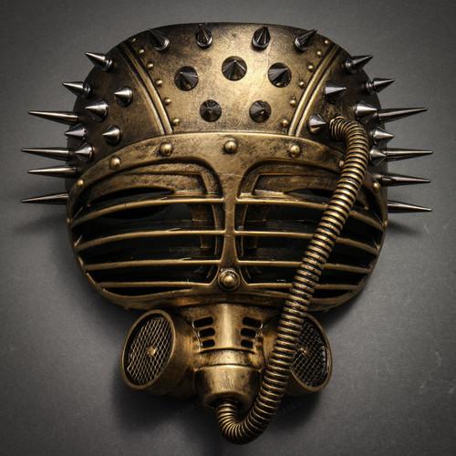 Metallic Steampunk Spike Gas Mask Full Face Masquerade Submarine - Gold