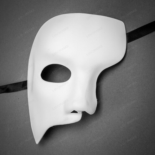 Classic Phantom of the Opera Half Face Mask - White