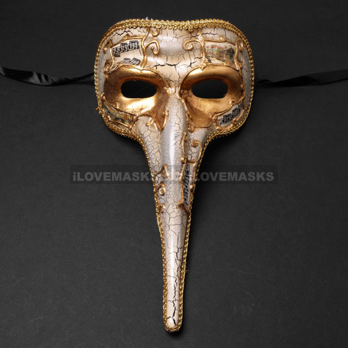 Musical Venetian Mardi Gras Men Long Nose Zanni Mask - Gold White