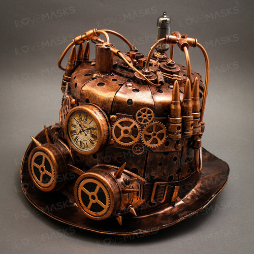 Steampunk Mad Scientist Time Traveler Top Hat - Antique Copper