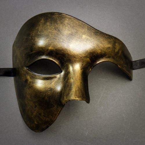 Phantom Venetian Masquerade Half Face Party Mask Black Gold