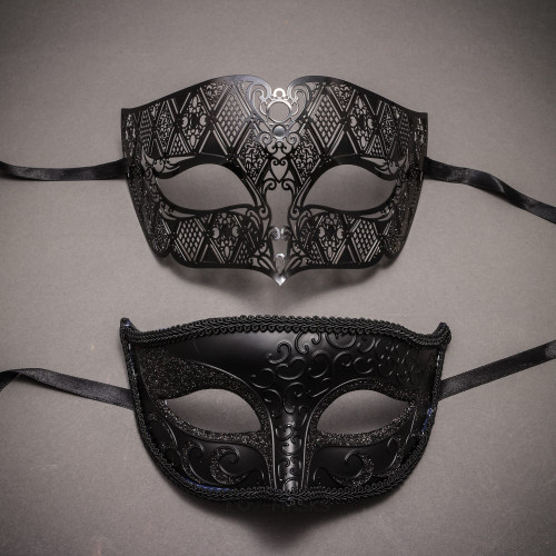 Black Venetian Classic Eyes Mask and Black Laser Cut Masks for Couple