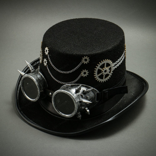 Steampunk Burning Man Top Hat with Chaines & Goggles- Black
