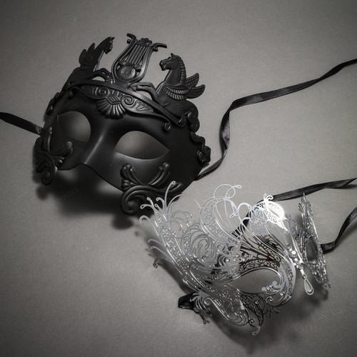 Couple's Masquerade Masks - Black Greek Roman Horse Warrior & Silver Charming Swan Laser Cut Mask