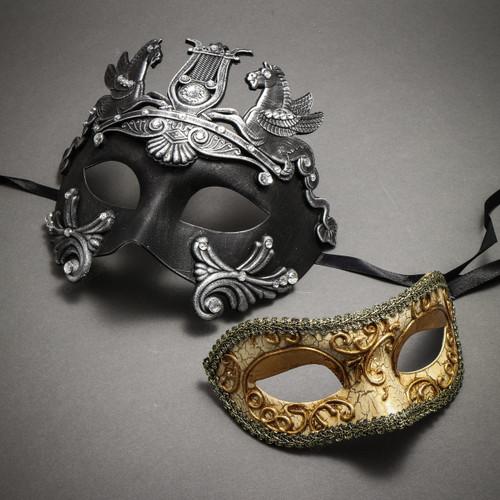 Couple's Masquerade Masks - Black Silver Roman Horse Warrior & Glitter Gold Lining Venetian Mask