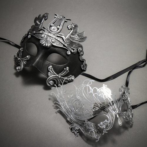 Couple's Masquerade Masks - Black Silver Greek Warrior & Silver Swan Charming Rhinestones Mask
