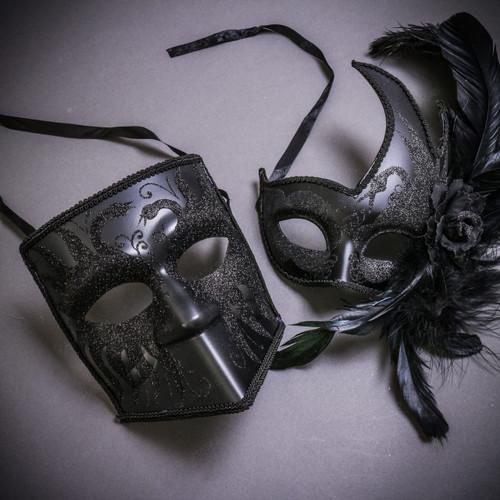 Black Glitter Full Face Bauta & Black Side Feather Glitter Couple Masks Set