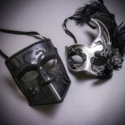 Black Glitter Full Face Bauta & Silver Black Side Feather Glitter Couple Masks Set