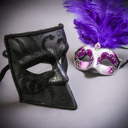 Black Glitter Full Face Bauta & Silver Mardi Gras Eye Mask with Top Purple Feather Couple Masks Set