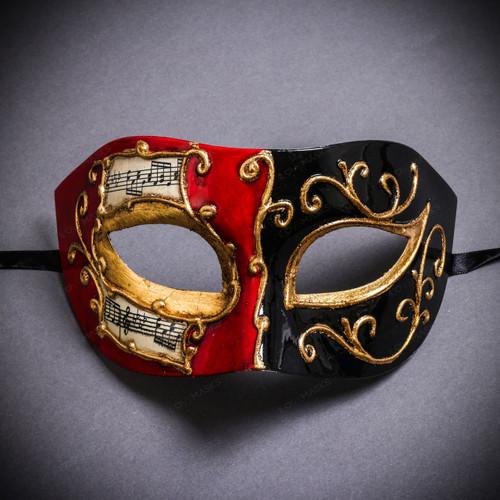 Unisex Musical Venetian Masquerade Eye Mask - Red Black