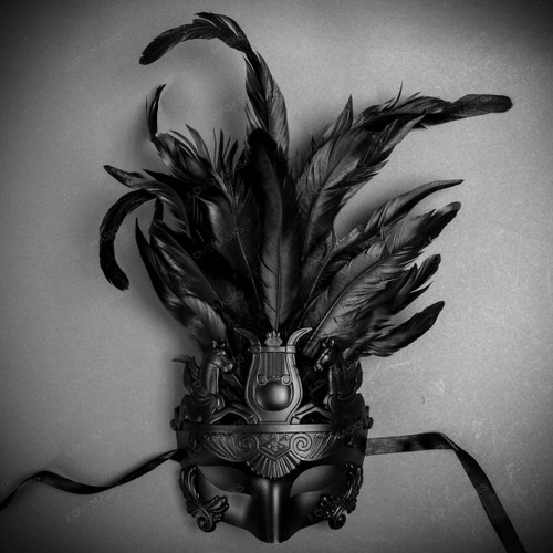 Venetian Roman Greek Pegasus Horses Feather Mask - Black
