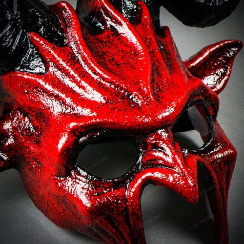 Bloody Red Scary Devil Ram Krampus Cosplay Costume Halloween Masquerade Mask