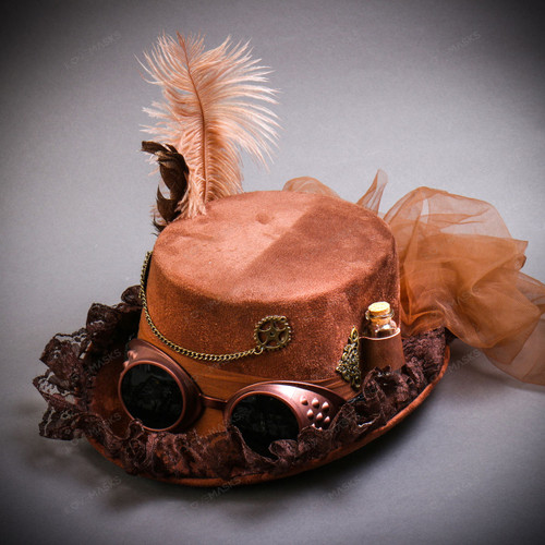 Steampunk Lady Top Hat with Goggles Feather - Brown