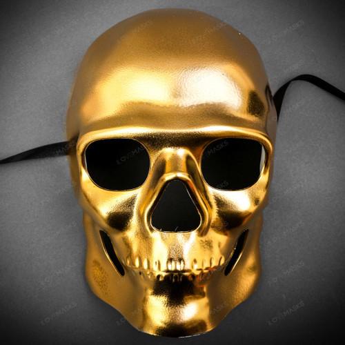 Skull Halloween Masquerade Full Face Mask - Gold