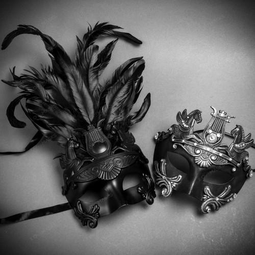 Couple's Masquerade Masks - Black Feather Greek Emperor & Silver Venetian Mask