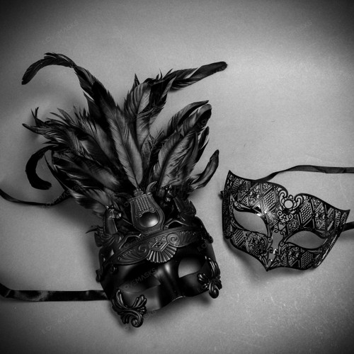 Couple's Masquerade Masks - Black Feather Greek Emperor & Black Laser Cut Eye Mask