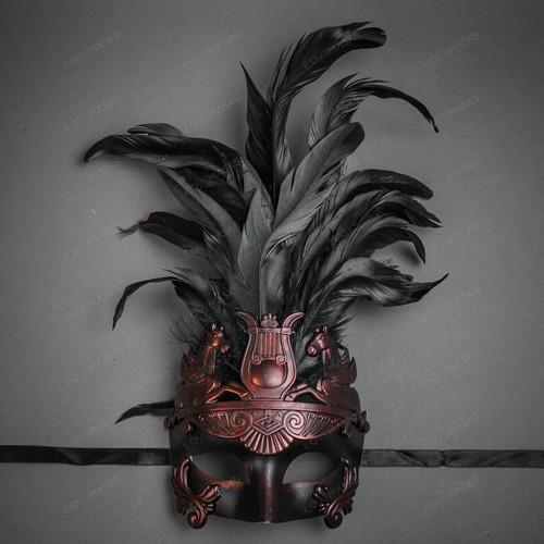 Venetian Roman Greek Pegasus Horses Feather Mask - Copper Black