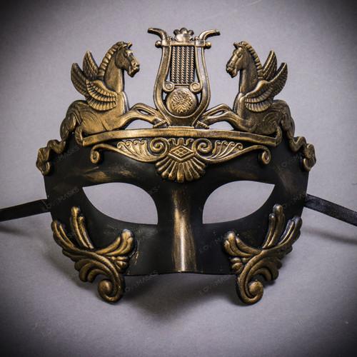 Roman Greek Emperor with Pegasus Horses Venetian Mask - Gold Black
