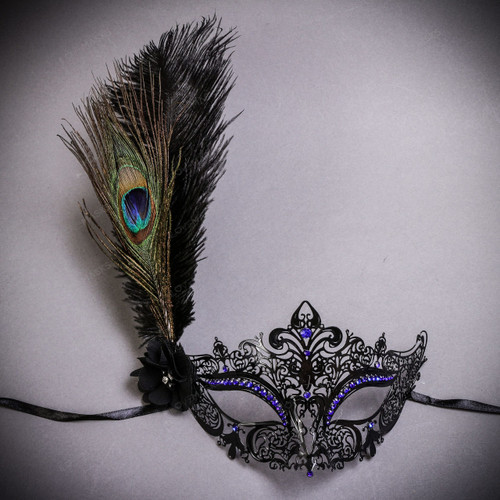 Luxury Peacock Feather Women's Venetian Laser Cut Mask - Black Blue