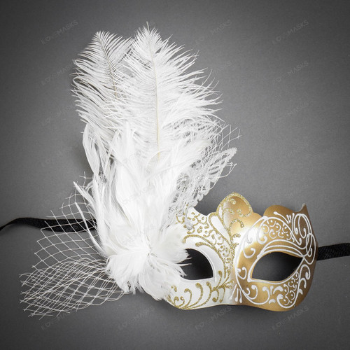 Butterfly Lace Feather Women Mask - White Gold