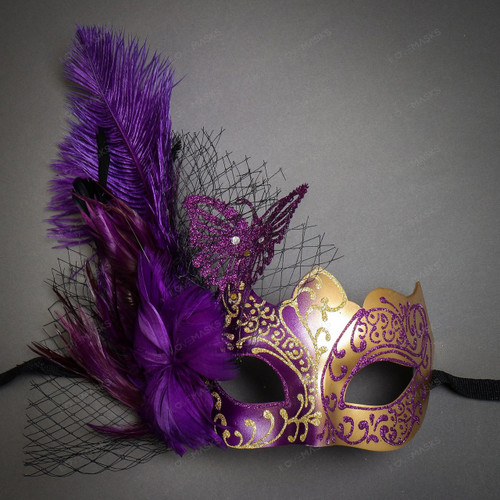 Butterfly Lace Feather Women Mask - Purple Gold
