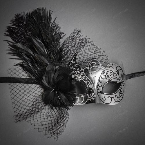Swan Venetian Lace Flower Feather Women Mask - Black Silver
