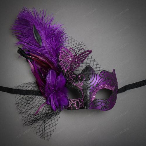 Butterfly Lace Feather Women Mask - Black Purple